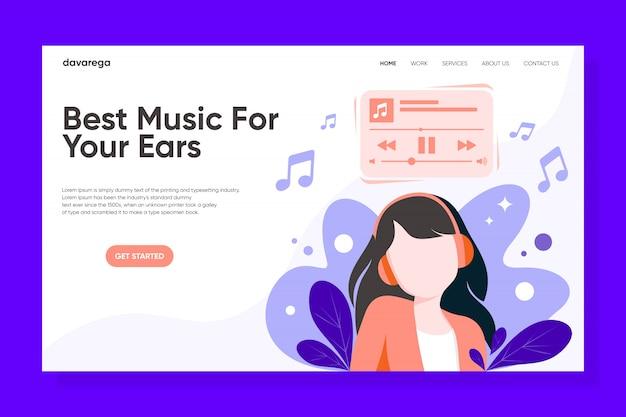 La ragazza ascolta musica con la progettazione della pagina di destinazione delle cuffie