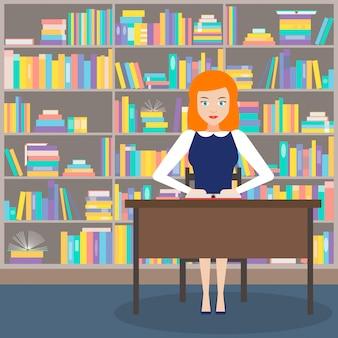 La ragazza bibliotecaria con libri
