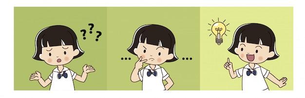 La ragazza carina in uniforme studentesca thailandese sta pensando e ha avuto l'idea.
