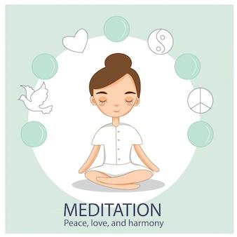 La ragazza carina pratica la meditazione e lo yoga in pace