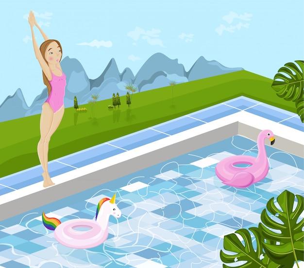 La ragazza che salta in una piscina