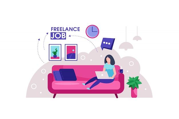 La ragazza che si siede sul sofà lavora con l'illustrazione del computer portatile
