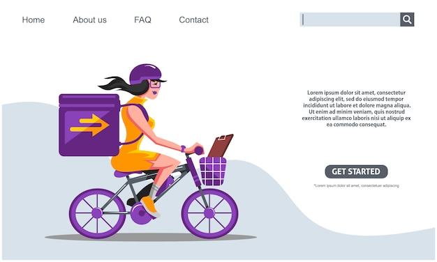 La ragazza di bellezza che guida le scatole di trasporto della bicicletta porpora esprime il servizio di consegna espresso.