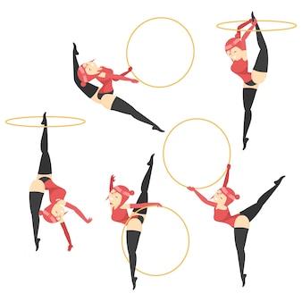 La ragazza di sport fa gli esercizi di forma fisica con il hula-hoop