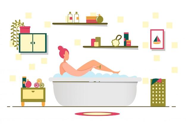 La ragazza fa le procedure da bagno, si prende cura di se stessa.