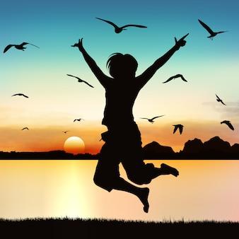 La ragazza felice che salta, su arte della siluetta.