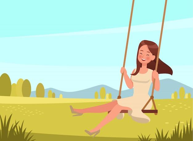 La ragazza felice gioca sul personaggio dell'oscillazione