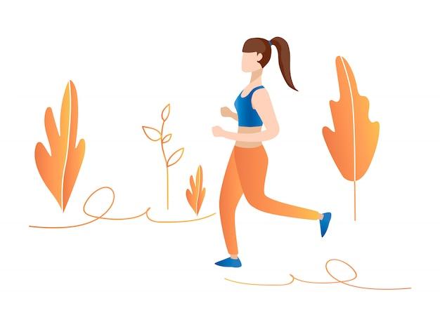 La ragazza funziona nell'illustrazione di concetto della foresta. ragazza che pareggia nel parco