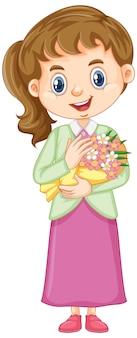 La ragazza in gonna rosa che tiene i fiori su bianco