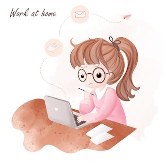 La ragazza lavora a casa e prova a inviare lavoro via e-mail.