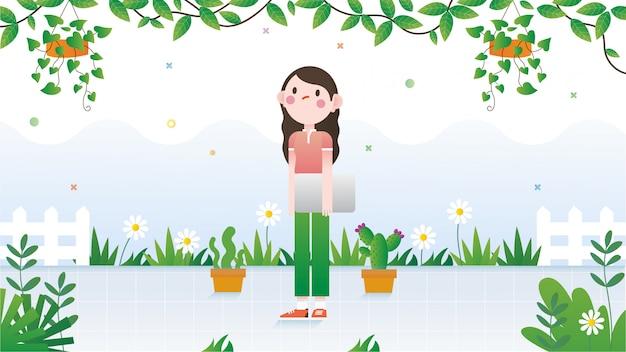 La ragazza sola in giardino