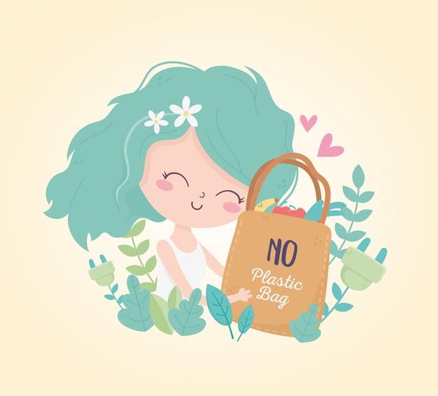 La ragazza sveglia con il sacchetto della spesa lascia l'ecologia dell'ambiente