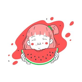 La ragazza sveglia mangia l'anguria fresca di estate, linea semplice e pulita illustrazione di vettore del fumetto