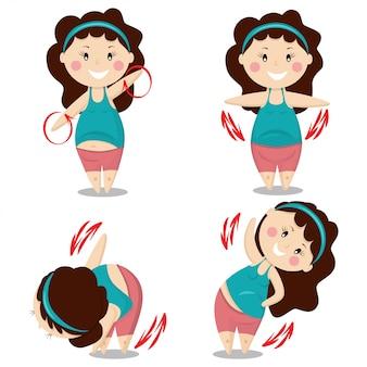 La ragazza sveglia risolve gli esercizi differenti di forma fisica