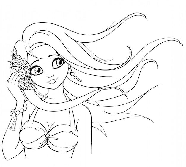 La ragazza tiene una conchiglia. donna che indossa costume da bagno e orecchini di perle.