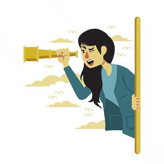 La ragazza vede attraverso un telescopio