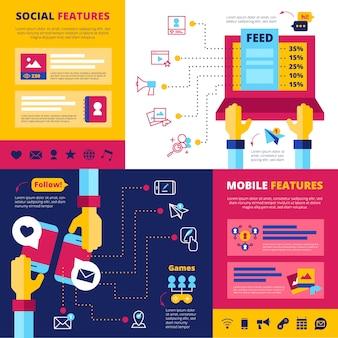 La rete sociale presenta una composizione di banner piatta