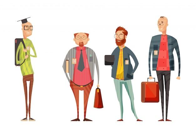 La retro raccolta del fumetto degli insegnanti con gli uomini sorridenti in vetri con le borse su fondo bianco ha isolato l'illustrazione di vettore