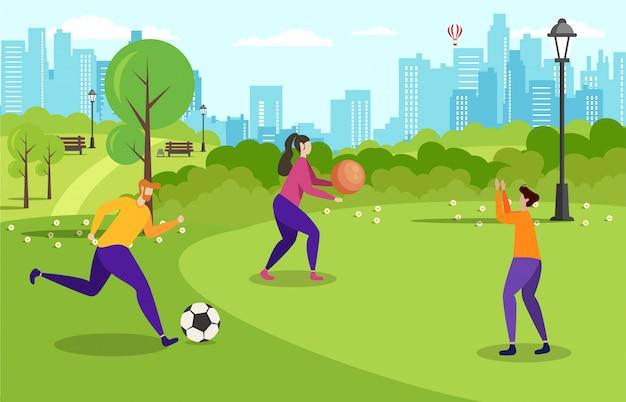 La ricreazione attiva all'aperto motiva lo stendardo piano