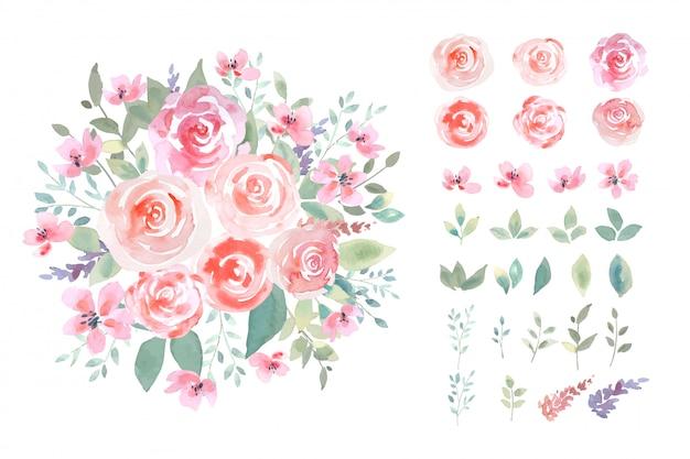La rosa di colore di acqua con il mazzo verde della foglia nello stile allentato botanico con la disposizione isolata ha messo sull'illustrazione.