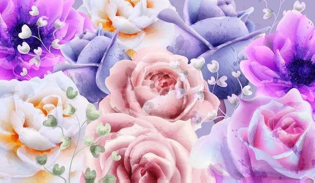 La rosa fiorisce l'acquerello del fondo