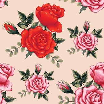 La rosa rossa del modello senza cuciture fiorisce il fondo.