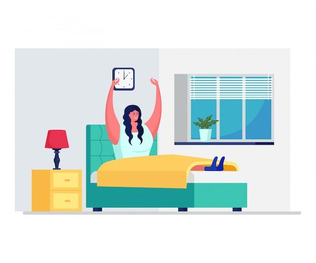 La routine quotidiana della mattina della donna, femmina sveglia isolato sull'illustrazione bianca e piana. riposo femminile sul risveglio precoce della camera da letto.