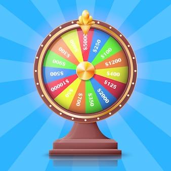 La ruota della fortuna con le scanalature dei premi di soldi vector l'illustrazione. un modo semplice per guadagnare soldi.