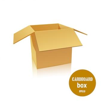 La scatola di cartone aperta su uno sfondo bianco.