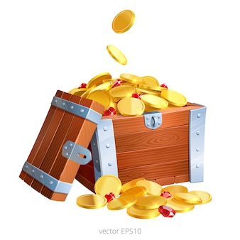La scatola di legno rinforzata è piena di soldi d'oro e rubini. mazzo di monete preziose e gemme rosse.