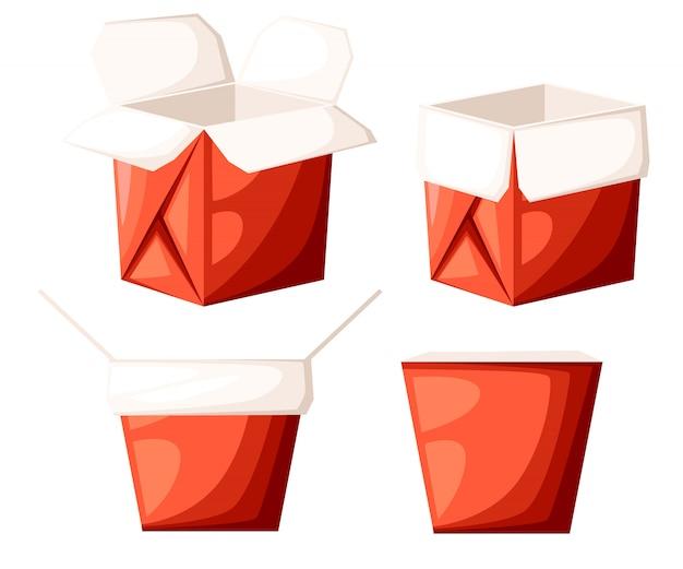 La scatola rossa per alimenti da asporto del ristorante cinese in forma diversa apre e chiude l'illustrazione sulla pagina del sito web di sfondo bianco e sull'app mobile
