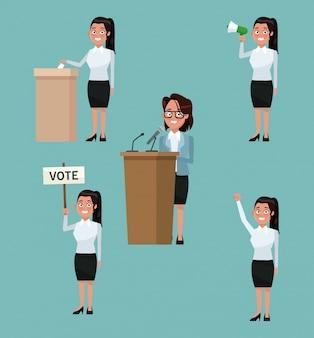 La scena della priorità bassa ha impostato la femmina della gente in vestito convenzionale nelle pose differenti per la candidatura di voto