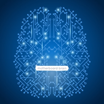La scheda madre del circuito di computer in tecnologia di forma del cervello e concetto di intelligenza artificiale vector l'illustrazione