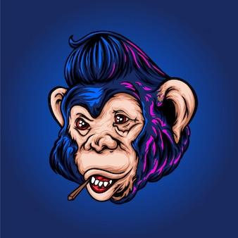 La scimmia con un'illustrazione di acconciatura rockabilly