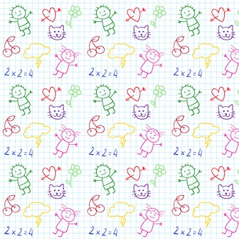 La scuola per bambini doodles in notebook