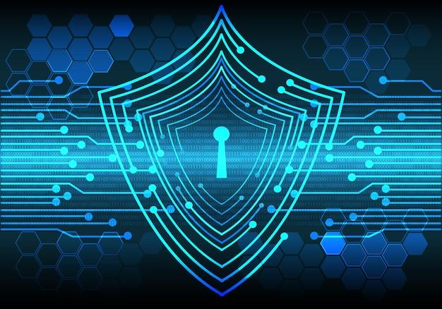 La serratura blu della tecnologia protegge il computer anti virus di dati.