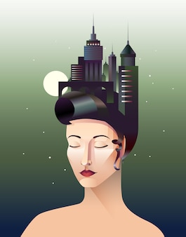 La signorina geometria astratta ritratto di donna con gli occhi chiusi