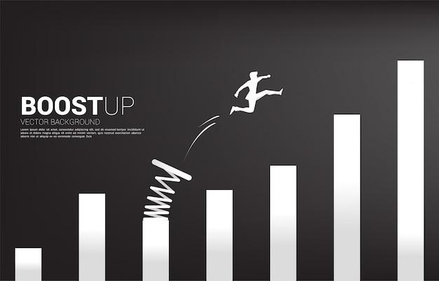 La siluetta dell'uomo d'affari salta alla colonna più alta del grafico con il trampolino. concetto di spinta e crescita negli affari