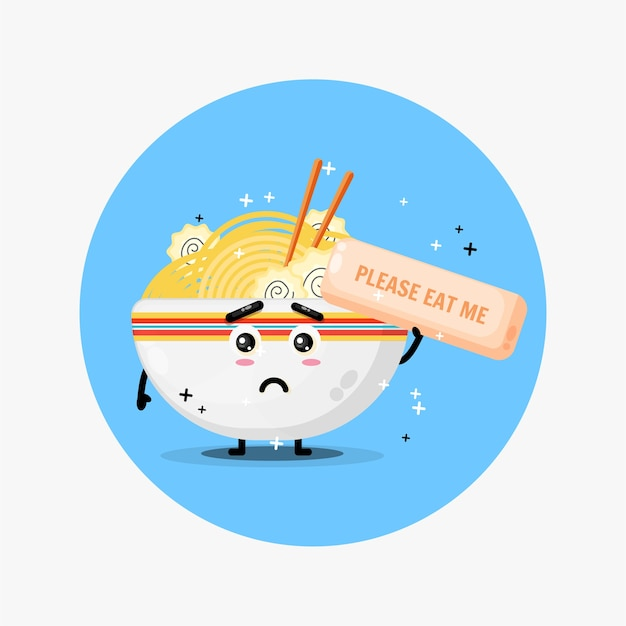 La simpatica mascotte di ramen chiede di essere mangiata