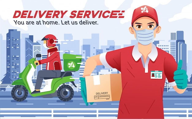 La società di servizi di consegna con uomo che indossa le maschere porta una scatola e il pollice in alto, il corriere di consegna invia il pacco in sella a una moto e indossa un casco, con il paesaggio della città come sfondo