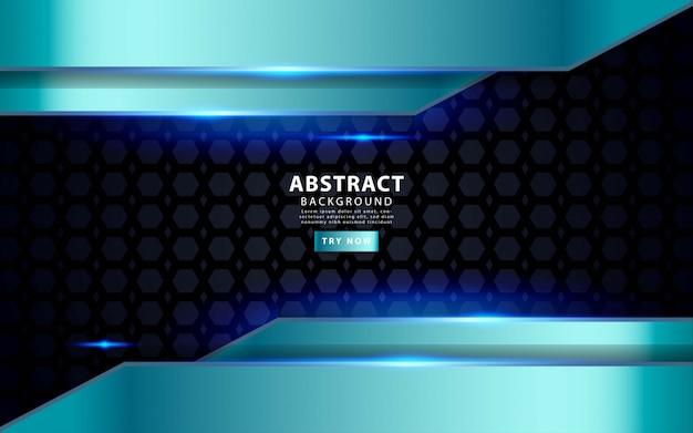La sovrapposizione blu d'argento moderna mette a strati la priorità bassa. effetto luce realistico su sfondo nero pentagono con texture.