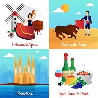 La spagna viaggia con il corrida e il cibo della cattedrale di flamenco barcellona