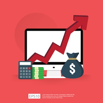 La spesa per commissioni di costo aumenta con il diagramma di crescita in aumento della freccia. concetto di riduzione del denaro aziendale. progressi nella crescita degli investimenti con computer e calcolatrice