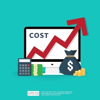 La spesa per commissioni di costo aumenta con la freccia rossa che aumenta il diagramma di crescita