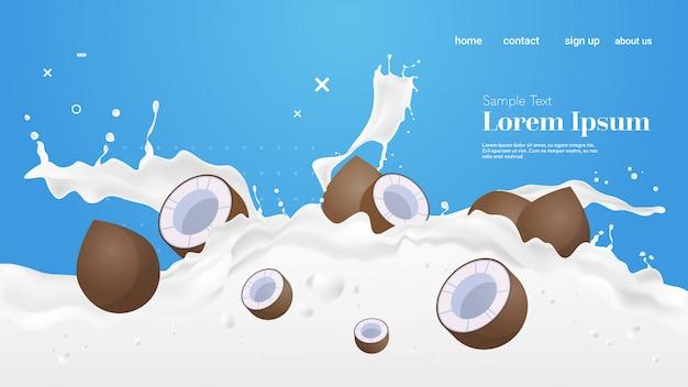 La spruzzata fresca del latte di cocco realistica spruzza lo spazio orizzontale della copia delle onde di spruzzatura di frutti sani