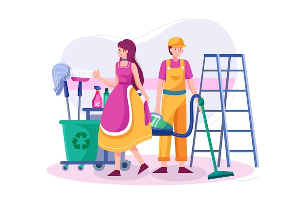 La squadra di pulizia con professionisti. l'attrezzatura è pronta per funzionare