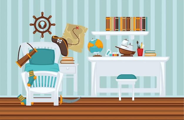 La stanza del ragazzo nell'illustrazione piana variopinta di stile del pirata
