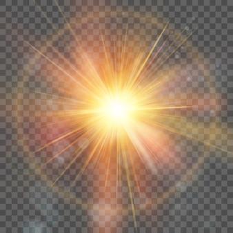 La stella è scoppiata di scintillii. esplosione su sfondo trasparente. riflesso lente, raggi, stella. e include anche