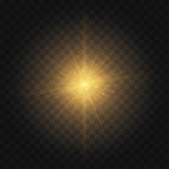 La stella gialla dorata ha scoppiato con polvere e la scintilla isolate. effetto luce bagliore con raggi e particelle di luce su sfondo trasparente