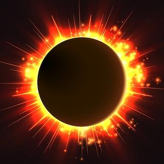 La stella luminosa brilla dai bordi di un pianeta